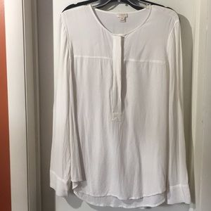 J Crew ivory long sleeve tunic blouse Sz XL